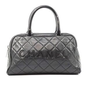 Auth Chanel Small Hand Bag Black Leather #2716C35
